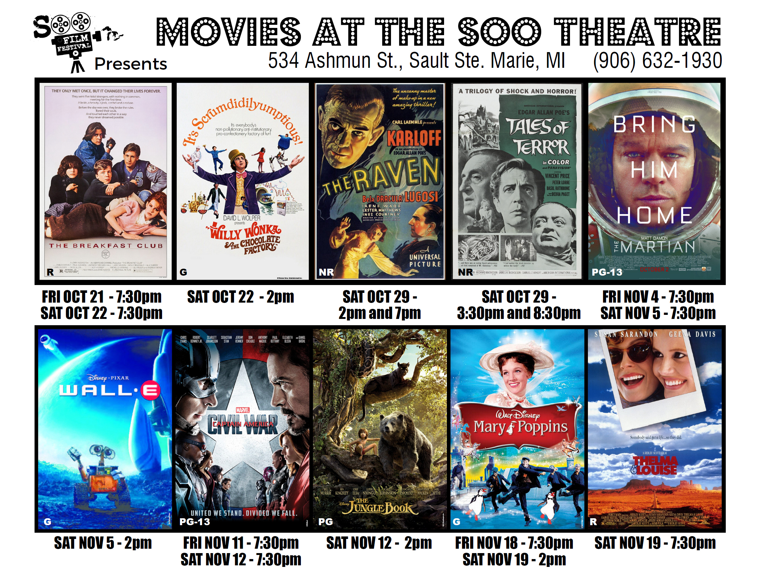 Schedule of Fall 2016 Movies at the Soo Theatre